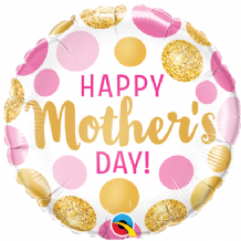 "Mothers Day Pink & Gold Dots Foil Balloon (9"" Air-Fill) 1pc"